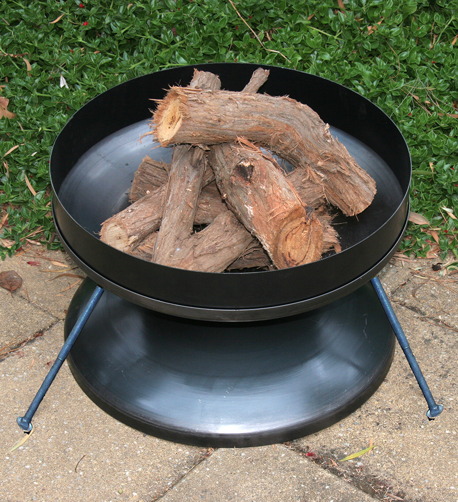 Hillbilly FireDish available in black or stainless steel from bushwares